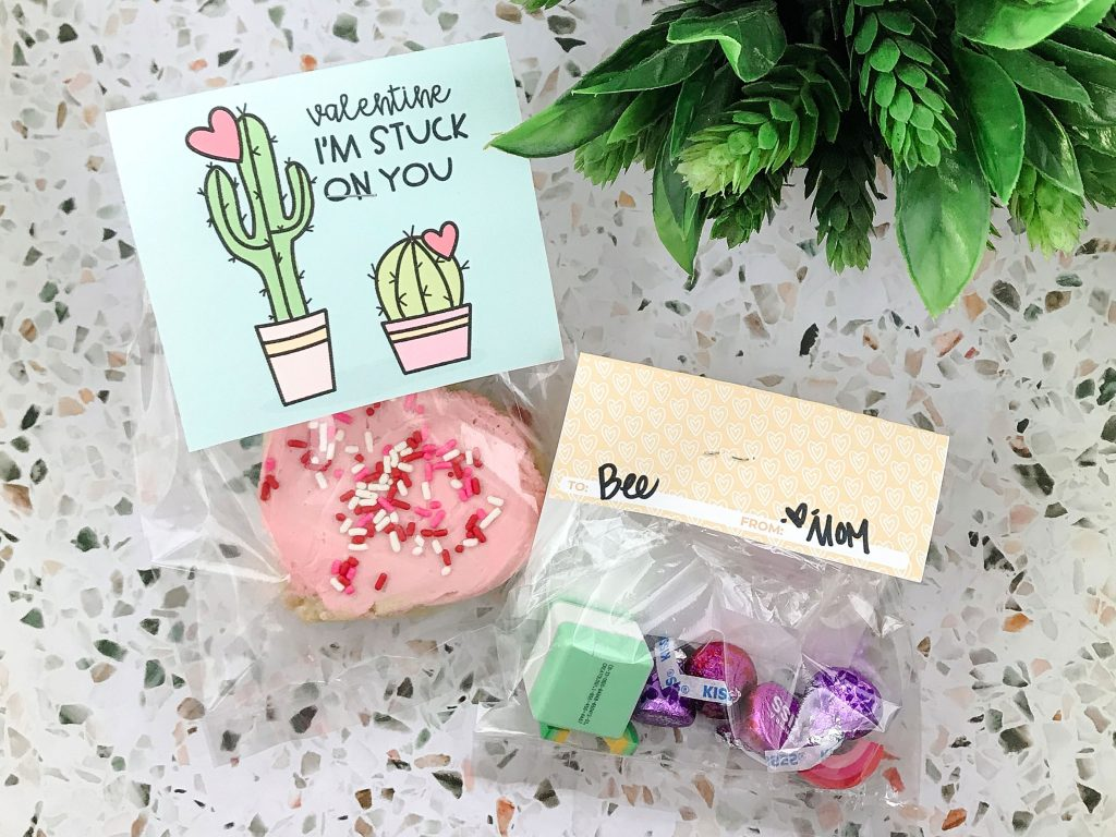 Valentine Treat Bag Toppers front and back from Prickly Pear Design Co.