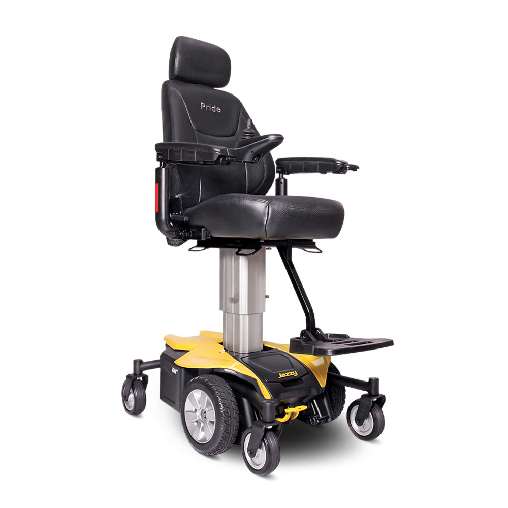 yellow wheelchair racing chair stand jazzy air elevated power pride mobility