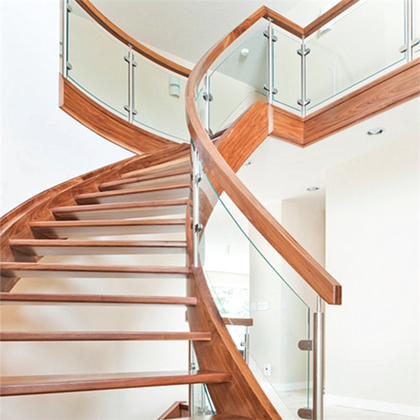 Luxury Indoor Solid Wood Antique Curved Staircase With U Channel | Round Stairs Railing Design | Metal | Silver | Loft | Stainless Steel | Brown