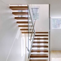 Floating Stair Solid Wood Treads Floating Stair Glass ...
