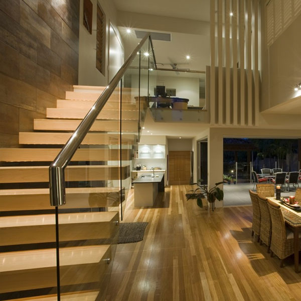 Build Apartment Solid Wood Floating Staircase Designs