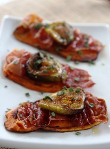Sweet Potato Crostini with Prosciutto and Caramelized Fig