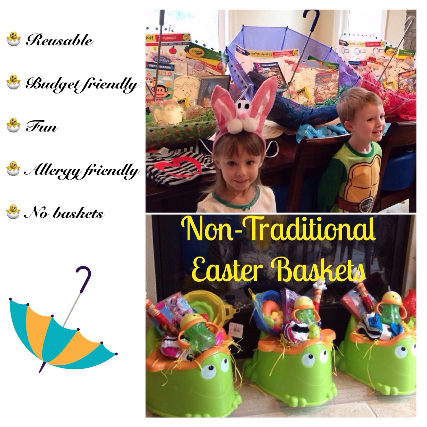 Make your own umbrella easter baskets non candy centered allergy umbrella easter baskets negle Images