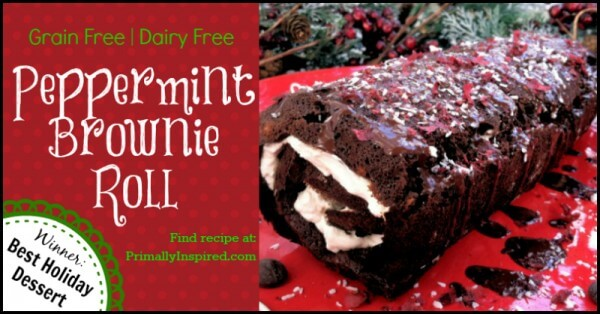 Paleo Peppermint Brownie Roll  PrimallyInspired.com