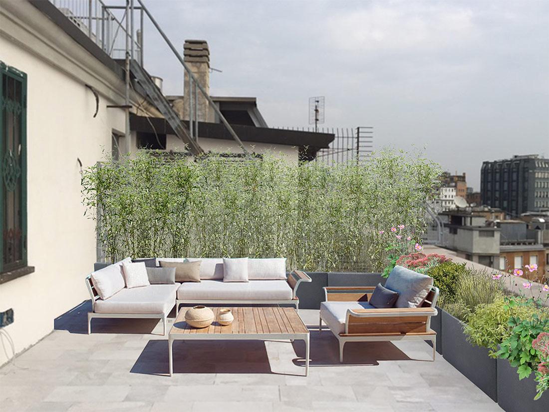 Progetto di giardino pensile per terrazzo a Milano