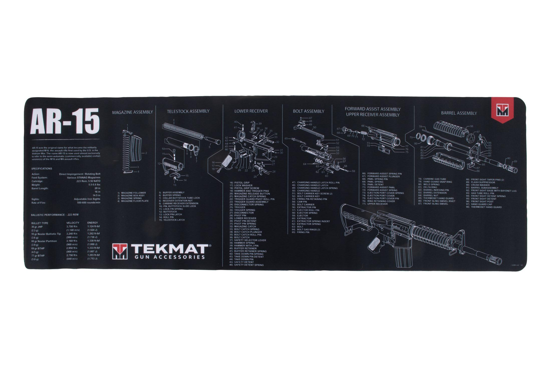 ar 15 lower diagram volcanic plug tekmat ar-15 gun cleaning mat - black 36-ar15