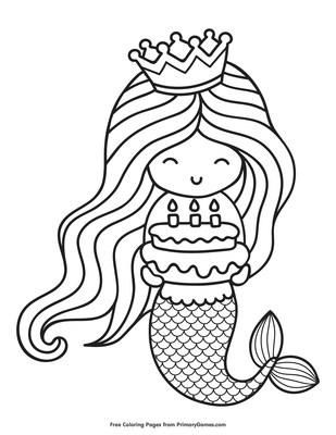 pix Free Mermaid Coloring Pages happy birthday mermaid coloring page