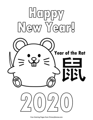 2020 Year Of The Rat Coloring Page Free Printable Pdf From Primarygames