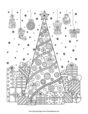 Christmas Tree With Presents Coloring Page Free Printable Pdf From Primarygames