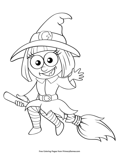 Cute Witch Halloween Coloring Pages