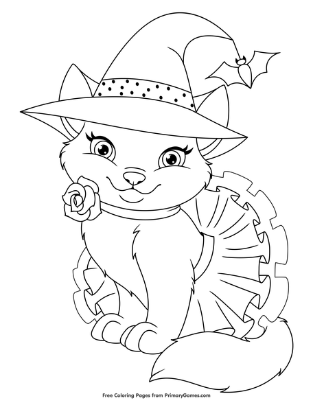 Cute Halloween Cat Coloring Page Free Printable Pdf From Primarygames