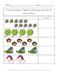 St. Patrick's Day Worksheets: St. Patrick's Day Counting ...