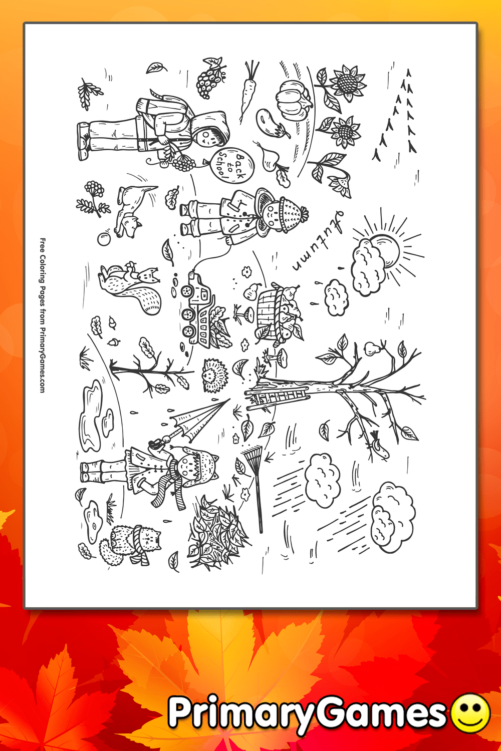 Fall Scene Coloring Page Printable Fall Coloring EBook