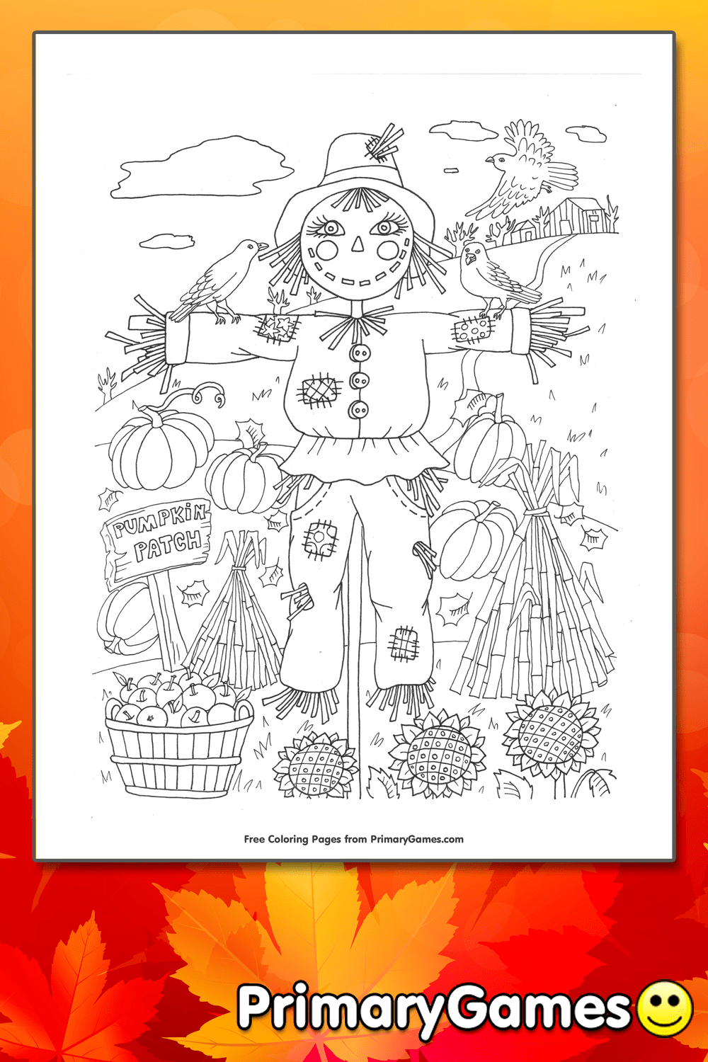 Pumpkin Patch Scarecrow Coloring Page Printable Fall