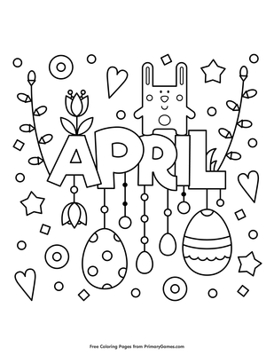 April Coloring Page Free Printable Pdf From Primarygames
