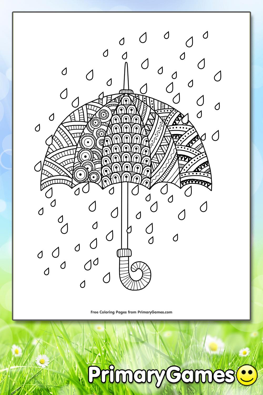 Rain Drops With Umbrella Coloring Page Printable Spring