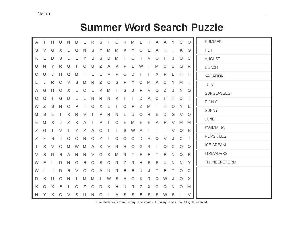 Summer Worksheets Summer Word Search Puzzle