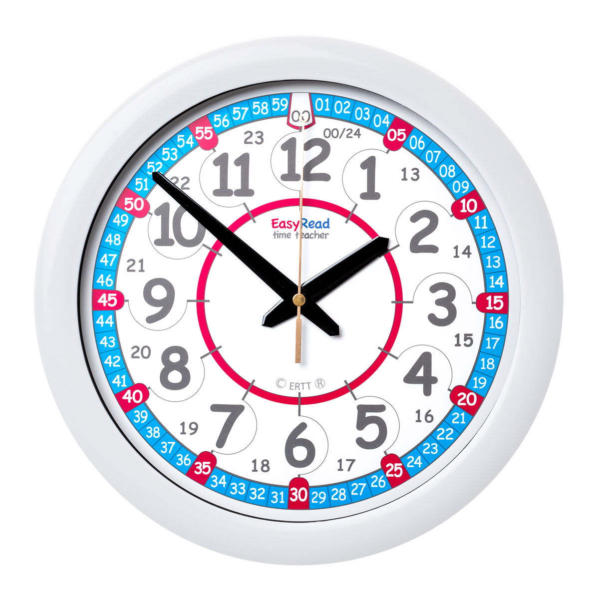Easy Read Time Teacher Red Amp Blue Face Wall Clock