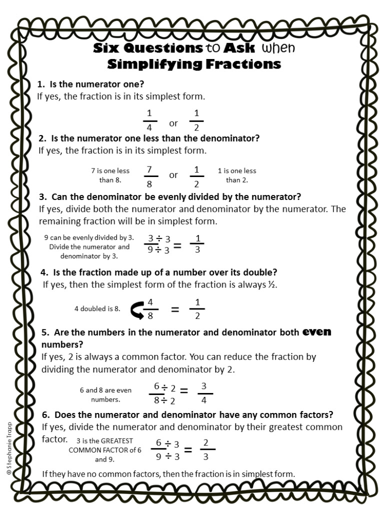 hight resolution of Simplifying Fractions Worksheet and Template