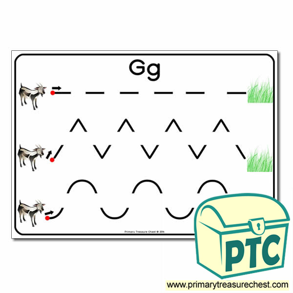 'Gg' Themed Pre-Writing Patterns Activity Sheet