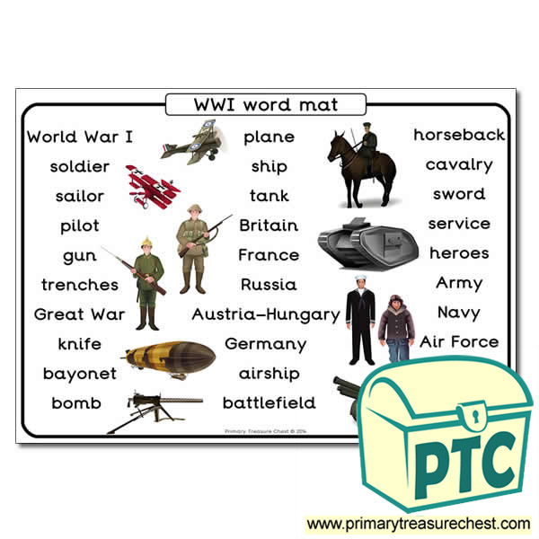World War One Themed Word Mat Primary Treasure Chest
