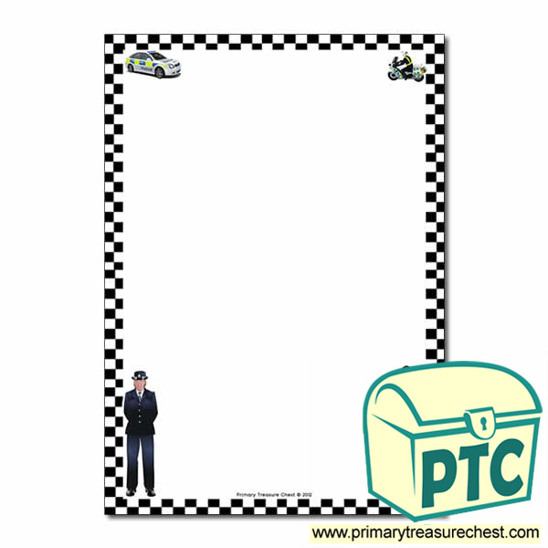 Police Themed Page BorderWriting Frame No Lines