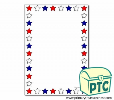 Red, White and Blue Stars Page Border/Writing Frame (no
