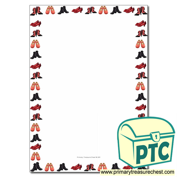 Shoes Themed Page Border Writing Frame No Lined