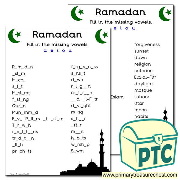 Ramadan Themed Vowels Worksheet