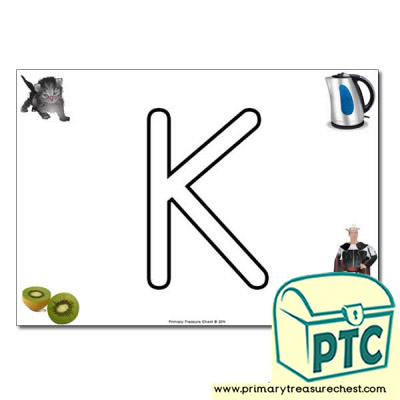 Uppercase 'K' Bubble Letters Formation Activity with