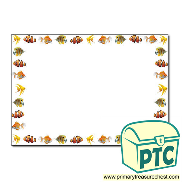Fish Themed Landscape Page BorderWriting Frame No Lines