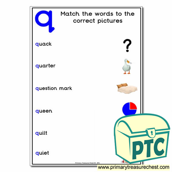 'q' Themed Matching Words to the Pictures Activity