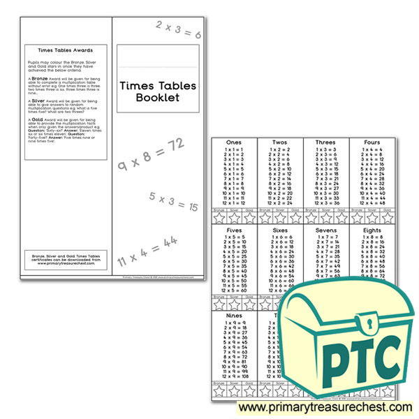 Times Tables Booklet Tables 1-12 format for all tables