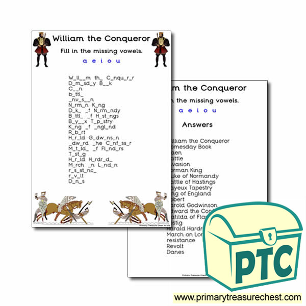 'William the Conqueror' Themed Missing Vowels Worksheet