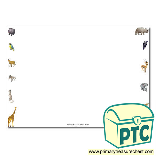Zoo Animals Landscape Page Border/Writing Frame (no lines
