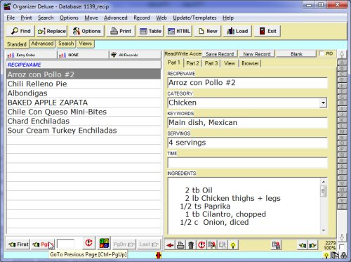 free recipe organizer 2000 recipes database template for