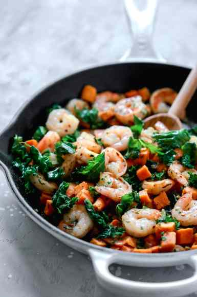 Sweet Potato, Kale and Shrimp Skillet