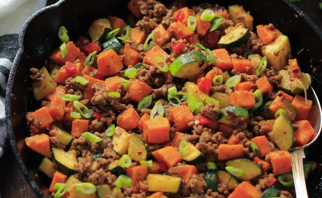Ground Beef Zucchini Sweet Potato Skillet Meal Prep