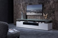 Grey Lacquer Living Room TV Stand with Glass Top Chicago ...