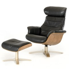 Reclining Chair With Ottoman Leather Hanging Kerala Modern Black New