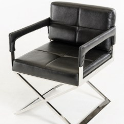 Black Bonded Leather Chair Alec Wing Stainless Steel Frame Los