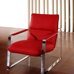 Red Lounge Chair Padded Folding Chairs Uk Modern Leather With Steel Frame Oklahoma