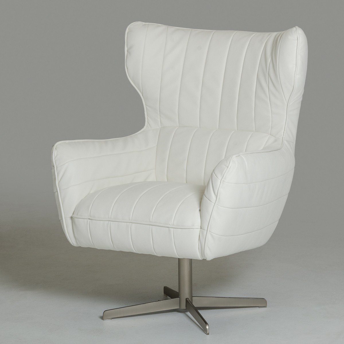 White Leather Swivel Accent Chair Charlotte North Carolina