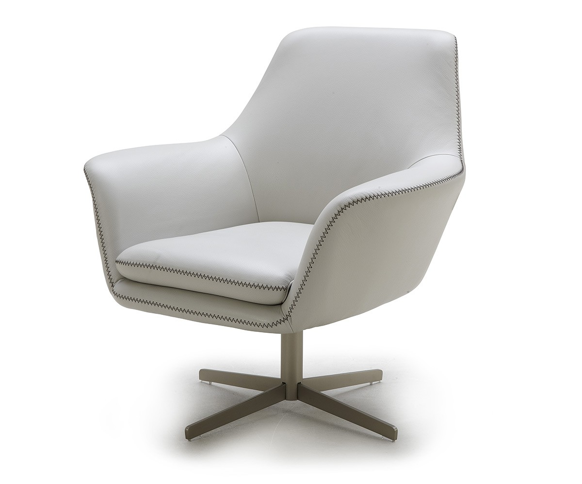 Modern White Leather Swivel Lounge Chair Fort Worth Texas