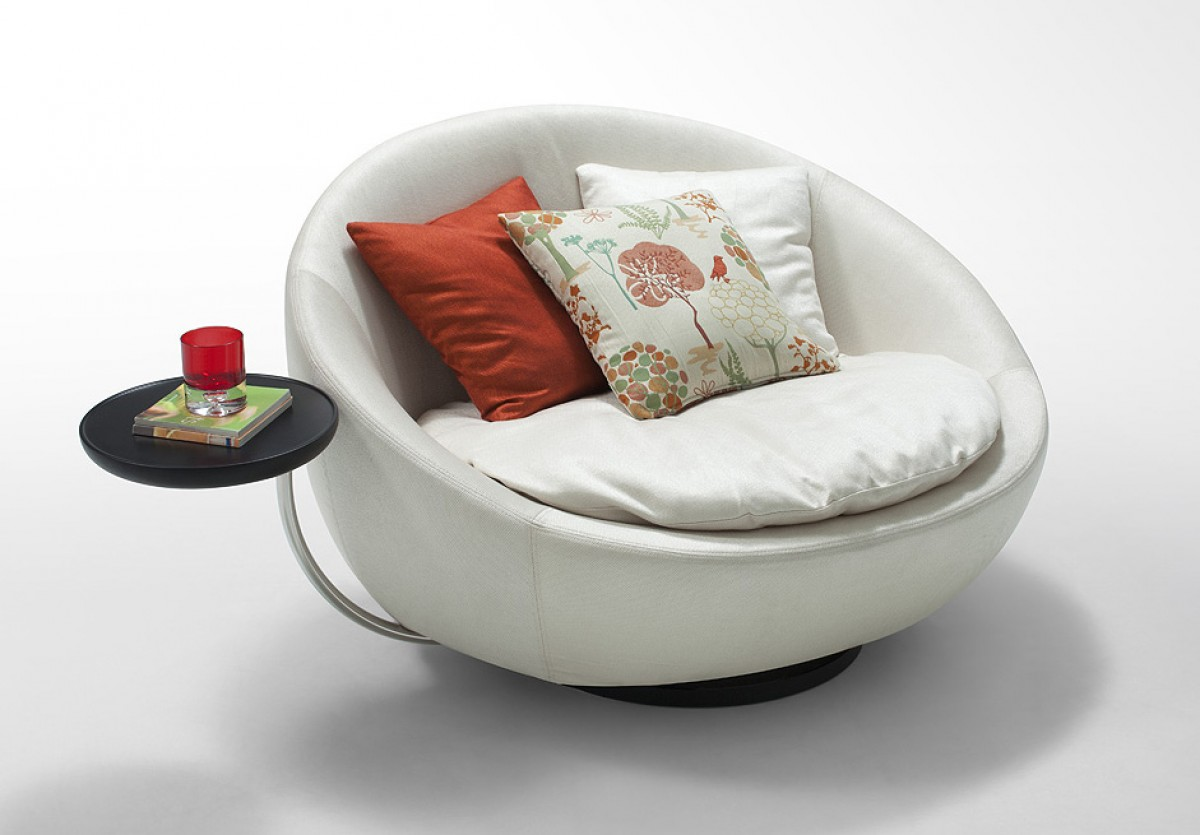 Modern Swivel Round White Leatherette Lounge Chair Tulsa