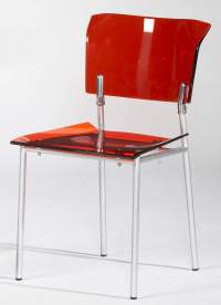 Acrylic Side Chair in Red with Metal Frame Stockton ...