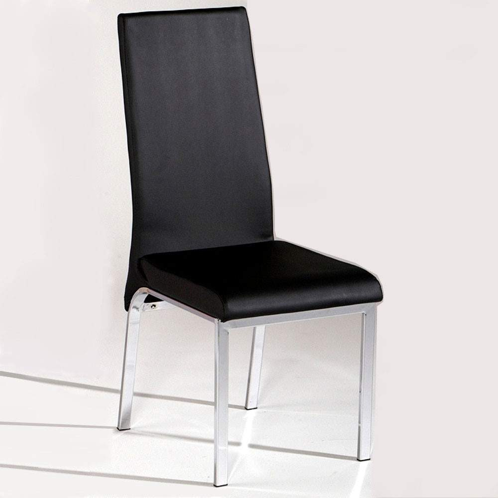 Contemporary Black Dining Chair in Leather and Chrome