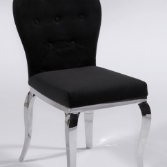 Black Dining Room Chairs With Chrome Legs Walmart Portable High Chair Microfiber Seat And Back Phoenix Contemporary Dinette Furniture