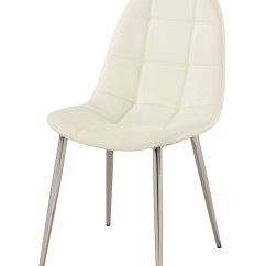 White Upholstered Chairs Office Chair Sinking Contemporary Side With Chrome Legs