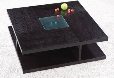 Black Glass And Wood Coffee Table